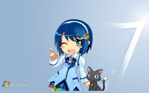 Rating: Safe Score: 41 Tags: animal blue_eyes blue_hair bow cat headband logo madobe_nanami microsoft os-tan short_hair skirt windows wink User: bluith