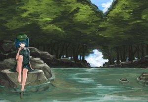 Rating: Safe Score: 92 Tags: barefoot blue_hair forest hat kawashiro_nitori monobe_tsukuri touhou tree water User: Flandre93