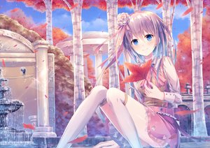Rating: Safe Score: 96 Tags: aqua_eyes autumn bell blush building clouds dress leaves long_hair original petals ribbons sakakidani sky tree water User: RyuZU