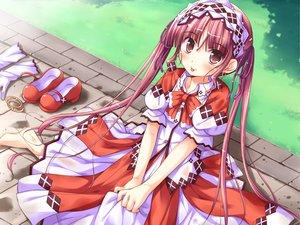Rating: Safe Score: 42 Tags: barefoot blush dress game_cg ko~cha loli long_hair minette red_eyes red_hair ribbons shukufuku_no_campanella twintails windmill_oasis User: Tensa