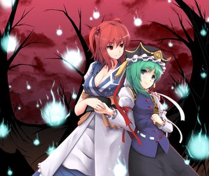 Rating: Safe Score: 45 Tags: 2girls blue_eyes breasts cleavage gayprince green_hair hat japanese_clothes onozuka_komachi red_eyes red_hair ribbons shikieiki_yamaxanadu short_hair skirt sky touhou tree twintails User: Tensa