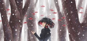 Rating: Safe Score: 45 Tags: animal black_hair fish minami_(minami373916) original red_eyes short_hair snow tree User: RyuZU