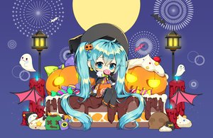 Rating: Safe Score: 13 Tags: animal aqua_eyes aqua_hair bat cake candy cape chibi chocolate food gloves halloween hat hatsune_miku lollipop long_hair moon norang_ pumpkin twintails vocaloid wings witch_hat User: RyuZU