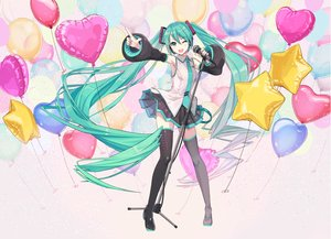 Rating: Safe Score: 43 Tags: aqua_eyes aqua_hair boots hatsune_miku ikushima long_hair microphone thighhighs twintails vocaloid wink zettai_ryouiki User: sadodere-chan
