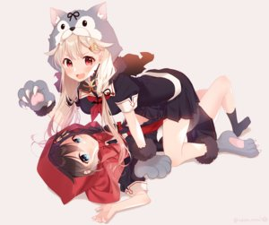 Rating: Safe Score: 52 Tags: animal_ears anthropomorphism aqua_eyes blonde_hair blush bow brown_hair cosplay gloves kantai_collection little_red_riding_hood long_hair naoto_(tulip) red_eyes school_uniform shigure_(kancolle) short_hair shoujo_ai skirt wolfgirl yuudachi_(kancolle) User: RyuZU