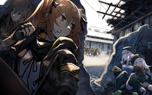 Rating: Safe Score: 71 Tags: anthropomorphism brown_eyes brown_hair g11_(girls_frontline) girls_frontline gun hat hk416_(girls_frontline) long_hair mephist-pheles sleeping thighhighs twintails ump-45_(girls_frontline) ump-9_(girls_frontline) uniform weapon white_hair User: Nepcoheart