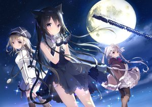 Rating: Safe Score: 108 Tags: animal animal_ears black_hair blush brown_eyes brown_hair cat catgirl clouds dress gloves gray_hair hat hoshizora_tetsudou_to_shiro_no_tabi karuha_(hoshishiro) long_hair moon neri_(hoshishiro) night noir_(hoshishiro) purple_eyes shiratama short_hair skirt sky stars tail thighhighs train User: BattlequeenYume