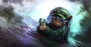 Rating: Safe Score: 88 Tags: aqua_eyes blue_hair gun hat jpeg_artifacts kawashiro_nitori lm7_(op-center) touhou twintails water weapon User: opai