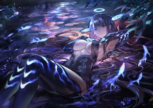Rating: Safe Score: 169 Tags: animal animal_ears avamone blue_eyes elbow_gloves fate/grand_order fate_(series) fish gloves halo long_hair no_bra purple_hair water watermark yang_guifei_(fate/grand_order) User: BattlequeenYume