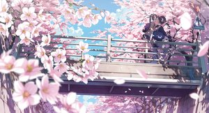 Rating: Safe Score: 125 Tags: 5_nenme_no_houkago bicycle brown_hair cherry_blossoms clouds flowers kantoku kneehighs long_hair male petals ponytail scenic school_uniform short_hair skirt sky User: RyuZU