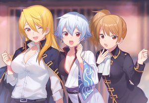 Rating: Safe Score: 13 Tags: blonde_hair breasts brown_hair cleavage genderswap gintama gray_hair heiwa_(murasiho) japanese_clothes long_hair okita_sougo ponytail red_eyes sakata_gintoki shirt short_hair tagme_(character) uniform waifu2x wink User: otaku_emmy