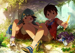 Rating: Safe Score: 13 Tags: all_male animal bandaid brown_eyes brown_hair butterfly drink food goggles grass hat hoodie leaves male noeyebrow_(mauve) original short_hair shorts signed water wristwear User: RyuZU