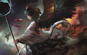 Rating: Safe Score: 17 Tags: fjsmu shameimaru_aya staff touhou wings User: FormX