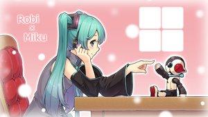 Rating: Safe Score: 90 Tags: aqua_eyes aqua_hair gogatsu_no_renkyuu hatsune_miku headphones long_hair robot vocaloid User: Flandre93