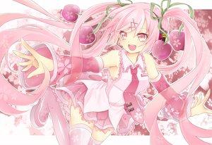 Rating: Safe Score: 46 Tags: cherry food fruit hatsune_miku long_hair pink_eyes pink_hair ribbons sakura_miku skirt thighhighs tie twintails uruhara_ryuuku vocaloid User: Nnyuu