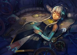 Rating: Safe Score: 65 Tags: bell dress feng_you gray_hair long_hair luo_tianyi sleeping thighhighs twintails vocaloid vocaloid_china User: Flandre93