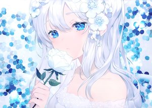 Rating: Safe Score: 93 Tags: achiki blue_eyes close flowers long_hair original polychromatic scan white_hair User: Nepcoheart