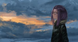 Rating: Safe Score: 30 Tags: blue_eyes clouds glasses kagamihara_sakura kagumanikusu purple_hair short_hair sky yuru_camp User: RyuZU