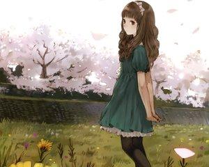 Rating: Safe Score: 60 Tags: bow brown_eyes brown_hair cherry_blossoms cropped dress flowers headband kishida_mel long_hair original pantyhose scan User: mattiasc02