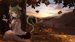 Rating: Safe Score: 77 Tags: aliasing animal_ears autumn bba1985 bell catgirl clouds dark green_hair landscape leaves long_hair magic orange_eyes scenic skirt sky tail tree User: BattlequeenYume