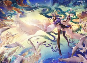 Rating: Safe Score: 63 Tags: 2girls 7th_dragon_2020 animal aqua_eyes aqua_hair bird bubbles cat_princess clouds dress hatsune_miku long_hair reflection ribbons sky sunset thighhighs twintails vocaloid water User: RyuZU