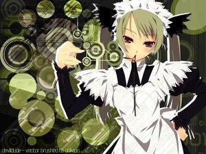 Rating: Safe Score: 9 Tags: apron blush maid murakami_suigun red_eyes User: Oyashiro-sama