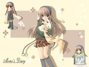 Rating: Safe Score: 25 Tags: animal brown_eyes brown_hair kneehighs long_hair rabbit scarf skirt User: Oyashiro-sama
