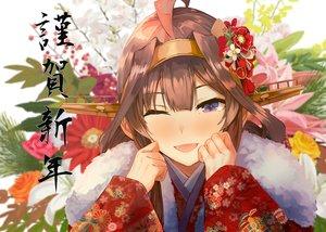 Rating: Safe Score: 45 Tags: anthropomorphism blush brown_hair close flowers japanese_clothes kantai_collection kimono kongou_(kancolle) konkito long_hair purple_eyes rose wink User: BattlequeenYume