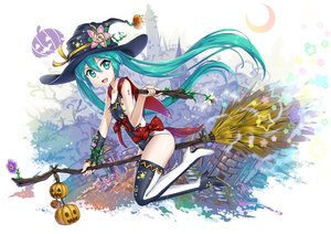 Rating: Safe Score: 82 Tags: aqua_eyes aqua_hair boots bow breasts cape flowers halloween hat hatsune_miku long_hair moon pumpkin swimsuit tagme_(artist) tattoo thighhighs twintails vocaloid wand witch witch_hat User: luckyluna