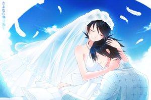 Rating: Safe Score: 76 Tags: clouds feathers fuura_kafuka hug itoshiki_nozomu sayonara_zetsubou_sensei sky wedding_attire User: w7382001