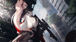 Rating: Safe Score: 61 Tags: animal_ears building city foxgirl gun hoodie long_hair microphone nagishiro_mito original pink_eyes pink_hair ruins thighhighs tree weapon User: otaku_emmy