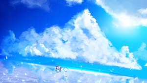 Rating: Safe Score: 24 Tags: blue_hair car clouds daydream_(zhdkffk21) hatsune_miku long_hair reflection scenic skirt sky thighhighs twintails vocaloid water zettai_ryouiki User: FormX