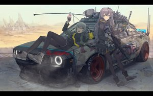Rating: Safe Score: 212 Tags: 2girls anthropomorphism car desert girls_frontline gun ladic pantyhose ump-40_(girls_frontline) ump-45_(girls_frontline) weapon User: FormX