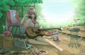 Rating: Safe Score: 195 Tags: animal barefoot bird blue_eyes guitar headphones instrument megurine_luka pink_hair shirano vocaloid User: FormX