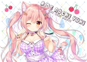 Rating: Safe Score: 67 Tags: ameto_yuki animal_ears blush breasts catgirl cherry cleavage dress food fruit long_hair original tail twintails watermark wink wristwear User: aaayu
