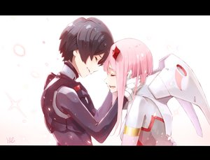 Rating: Safe Score: 72 Tags: black_hair bodysuit crying darling_in_the_franxx gradient hiro_(darling_in_the_franxx) horns hoshizaki_reita jpeg_artifacts male pink_hair short_hair signed tears zero_two User: RyuZU