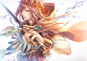 Rating: Safe Score: 133 Tags: all_male brown_eyes brown_hair den_(itokiitoki5022) feathers headband long_hair male original sword water weapon wristwear User: Flandre93
