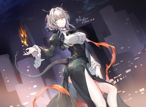 Rating: Safe Score: 79 Tags: arknights ass augetsix corset dress fire gray_hair horns magic signed tail talulah_(arknights) User: BattlequeenYume