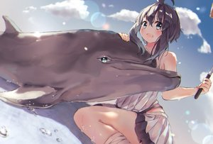 Rating: Safe Score: 7 Tags: animal black_hair blue_eyes blush clouds dolphin original skirt sky soranagi_yuki User: BattlequeenYume
