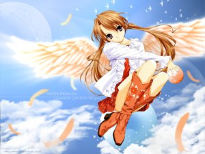 Rating: Safe Score: 30 Tags: boots brown_hair feathers minakami_sakuya purple_eyes sister_princess skirt sky tenhiro_naoto wings User: Oyashiro-sama