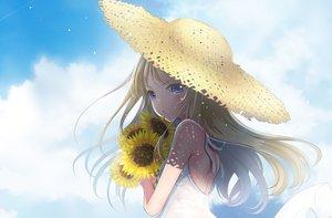 Rating: Safe Score: 82 Tags: blonde_hair clouds dress flowers hat long_hair original pink_eyes sakurai_unan sky summer_dress sunflower User: luckyluna