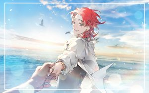 Rating: Safe Score: 15 Tags: aliasing all_male animal bird blue_eyes clouds male original panza red_hair short_hair shounen_ai sky water wristwear User: RyuZU