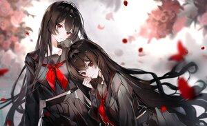 Rating: Safe Score: 71 Tags: 2girls black_hair butterfly long_hair naru_(ul) original polychromatic red_eyes school_uniform User: BattlequeenYume