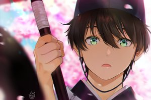 Rating: Safe Score: 15 Tags: all_male brown_hair cherry_blossoms close flowers green_eyes hat hyouka japanese_clothes male mery_(apfl0515) oreki_houtarou petals short_hair signed umbrella User: otaku_emmy