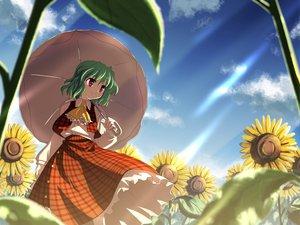 Rating: Safe Score: 66 Tags: dress flowers green_hair kazami_yuuka red_eyes short_hair skirt sky sunflower touhou umbrella yuuki_tatsuya User: 秀悟