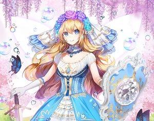 Rating: Safe Score: 40 Tags: applecaramel_(acaramel) aqua_eyes blonde_hair bubbles butterfly choker dress elbow_gloves flowers gloves headdress long_hair original rose sword weapon User: otaku_emmy
