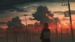 Rating: Safe Score: 29 Tags: clouds dark long_hair original polychromatic school_uniform sky sugi87 sunset User: Dreista