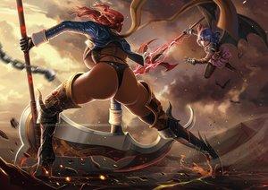 Rating: Safe Score: 214 Tags: 2girls animal armor ass bat blue_hair boots chain dantewontdie gloves magic onozuka_komachi pantyhose red_hair remilia_scarlet scythe spear touhou underboob vampire weapon wings User: Flandre93