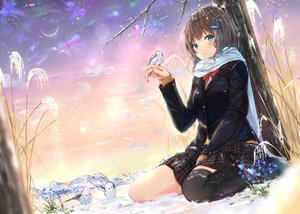 Rating: Safe Score: 86 Tags: animal aqua_eyes bird blush bow brown_hair flowers na_kyo original scarf school_uniform skirt sky stars thighhighs tree winter User: BattlequeenYume