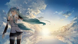 Rating: Safe Score: 89 Tags: blue_eyes clouds green_hair hatsune_miku jin_yun long_hair reflection scenic skirt sky thighhighs tie twintails vocaloid water wink User: BattlequeenYume